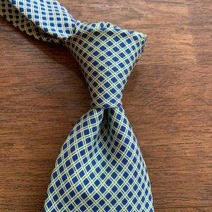 Drake's Blue, Green & White Silk Tie (imperfect)